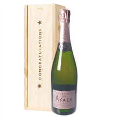 Ayala Rose Champagne Congratulations Gift In Wooden Box