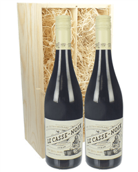 French Syrah Two Bottle Wine Gift in Wooden Box