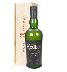 Ardbeg 10 Year Old Single Malt Whisky Birthday Gift In Wooden Box