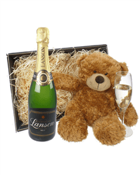 Lanson Champagne and Teddy Bear Gift Basket