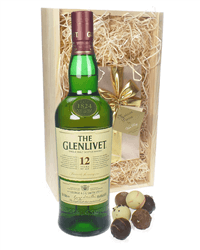 Glenlivet 12 Single Malt Scotch And Chocolates Gift Set in Wooden Box