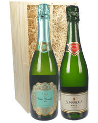 Cava Mixed Two Bottle Wine Gift in Wooden Box