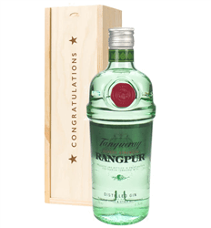 Tanqueray Rangpur Gin Congratulations Gift In Wooden Box