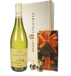 French Pouilly Fume White Wine  Christmas Wine and Chocolate Gift Box