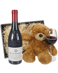 Chateauneuf Du Pape Red Wine and Teddy Bear Gift Basket