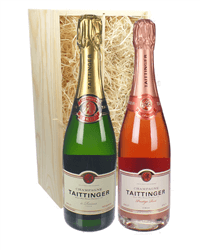Taittinger And Taittinger Rose Two Bottle Champagne Gift in Wooden Box