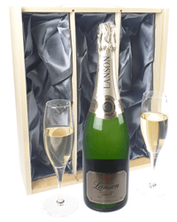 Lanson Gold Champagne Gift Set With Flute Glasses