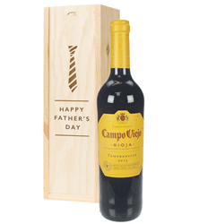 Rioja Tempranillo Red Wine Fathers Day Gift In Wooden Box