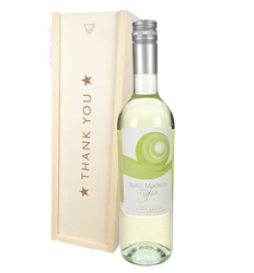 Pinot Grigio White Wine Thank You Gift In Wooden Box