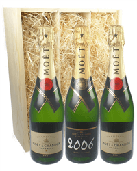 Moet NV and Vintage Three Bottle Champagne Gift in Wooden Box