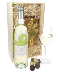 Pinot Grigio Wine and Chocolates Gift Set in Wooden Box
