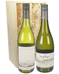 New Zealand Sauvignon Blanc Mixed Two Bottle Wine Gift in Wooden Box