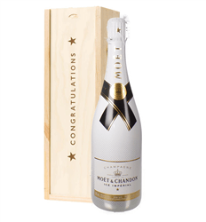 Moet Ice Imperial Champagne Congratulations Gift In Wooden Box
