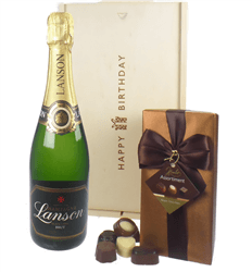 Lanson Champagne and Chocolates Birthday Gift Box