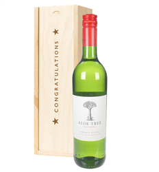 South African Chenin Blanc White Wine Congratulations Gift In Wooden Box