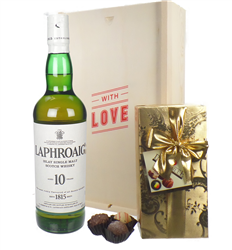 Laphroaig 10 Year Old Whisky and Chocolates Valentines Gift