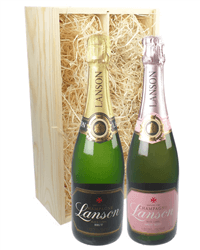 Lanson Mixed Two Bottle Champagne Gift in Wooden Box