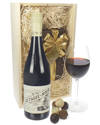 French Syrah Wine and Chocolates Gift Set in Wooden Box