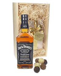 Jack Daniels And Chocolates Gift Set in Wooden Box