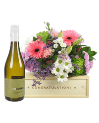 White Wine And Flowers Congratulations Gift