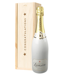 Lanson White Label Champagne Congratulations Gift In Wooden Box
