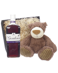 Gordons Sloe Gin And Teddy Bear Gift Basket