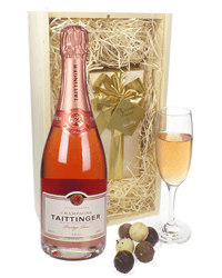 Taittinger Rose Champagne & Belgian Chocolates Gift Box