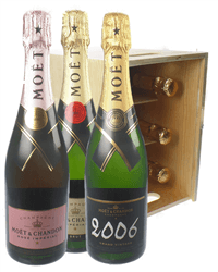The Moet Collection Champagne Six Bottle Wooden Crate