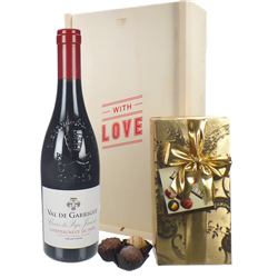 French Chateauneuf Du Pape Valentines Wine and Chocolate Gift Box