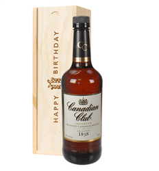 Canadian Club Whisky Birthday Gift In Wooden Box