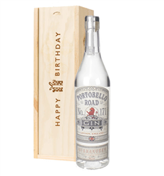 Portobello Road Gin Birthday Gift In Wooden Box