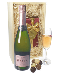 Ayala Rose Champagne & Belgian Chocolates Gift Box