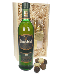 Glenfiddich Malt And Chocolates Gift Set in Wooden Box