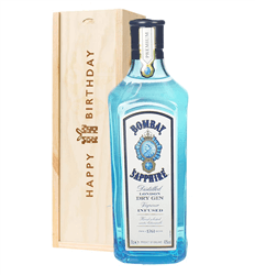 Bombay Sapphire Gin Birthday Gift In Wooden Box
