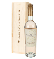 Pinot Grigio Rose Wine Congratulations Gift In Wooden Box