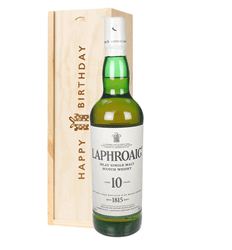 Laphroaig 10 Single Malt Whisky Birthday Gift In Wooden Box