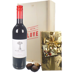 South African Red Wine Valentines Wine and Chocolate Gift Box