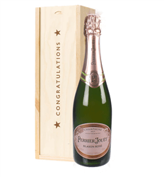 Perrier Jouet Rose Champagne Congratulations Gift In Wooden Box