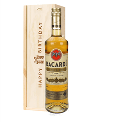 Bacardi Carta Oro Birthday Gift In Wooden Box