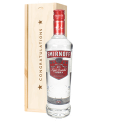 Smirnoff Red Label Vodka Congratulations Gift In Wooden Box