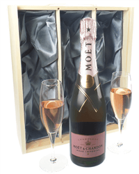 Moet Rose Champagne Gift Set With Flute Glasses
