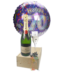 70th Birthday Gift - Moet Champagne - Balloon - Flute
