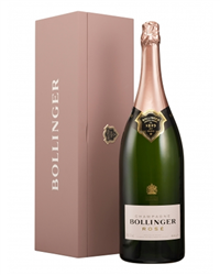 Bollinger Rose Champagne Jeroboam 300cl in A Pink Wooden Gift box
