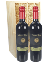 Malbec Two Bottle Wine Gift in Wooden Box