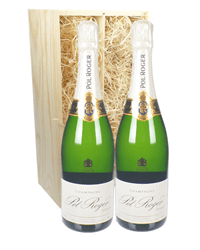 Pol Roger Two Bottle Champagne Gift in Wooden Box