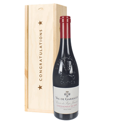 Chateauneuf Du Pape Red Wine Congratulations Gift In Wooden Box