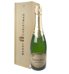 Perrier Jouet Champagne Single Bottle Christmas Gift In Wooden Box