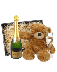 Krug Grande Cuvee Champagne and Teddy Bear Gift Basket
