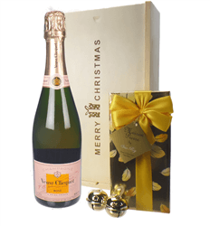 Veuve Clicquot Rose Christmas Champagne and Chocolates Gift Box