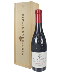 Chateauneuf Du Pape Red Wine Single Bottle Christmas Gift In Wooden Box